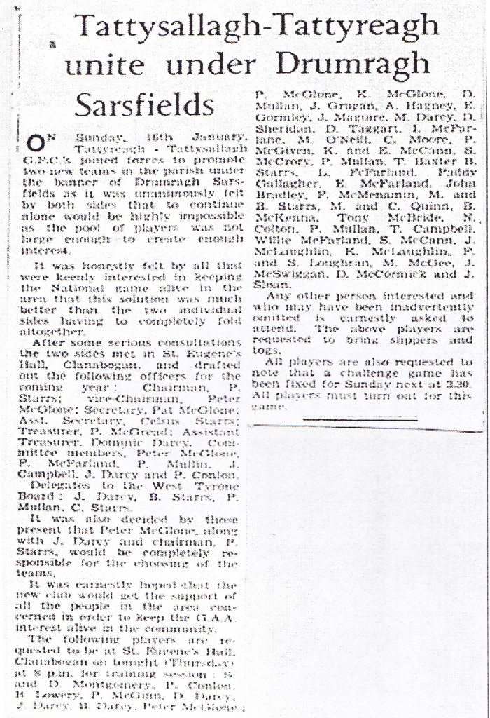 Press cutting about the first meeting of the newly formed Drumragh Sarsfields GAC.
