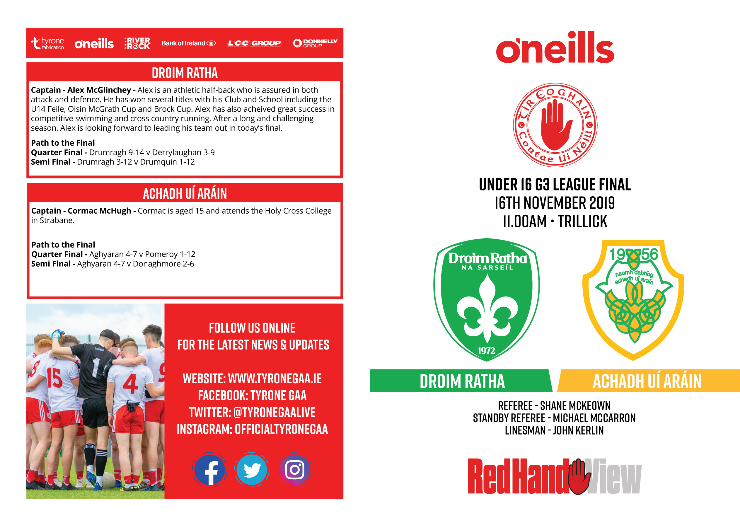 Under 16 League Final Programme