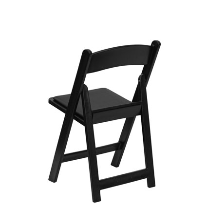 Black Padded Chair (Back View) - AC Party Rentals