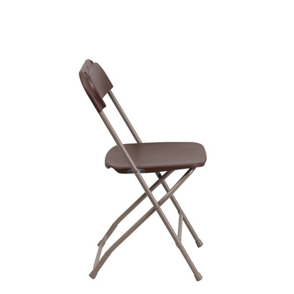 Brown Folding Chair (Side View) - AC Party Rentals