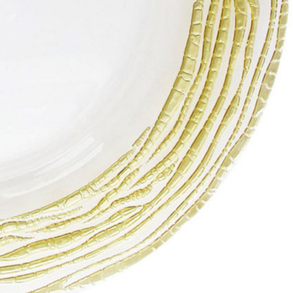 Glass Charger Gold Swirl 13 (Closeup) - AC Party Rentals