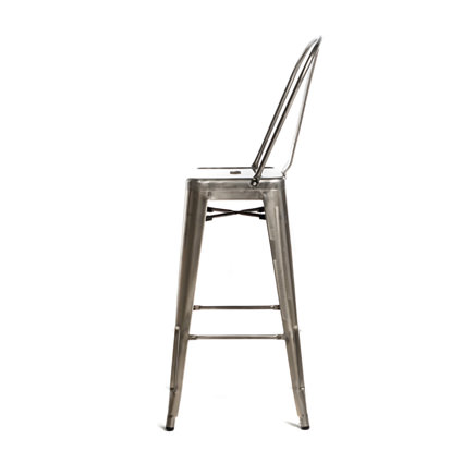 Monroe Gunmetal Barstool w Back (Side View) - AC Party Rentals
