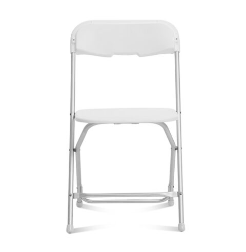 White Folding Chair Aluminum Frame : Front View - AC Party Rentals