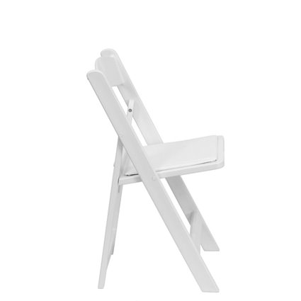 White Padded Chair (Side View) - AC Party Rentals