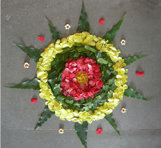 flowers and leaves to make rangoli