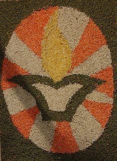 Rangoli made by pulses and grains