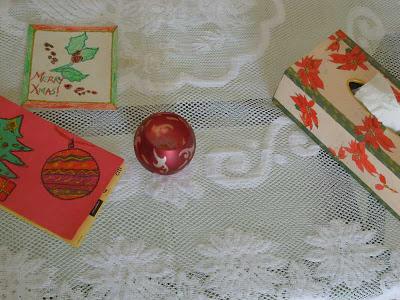 Poinsettia themed decoupage on a tissue box