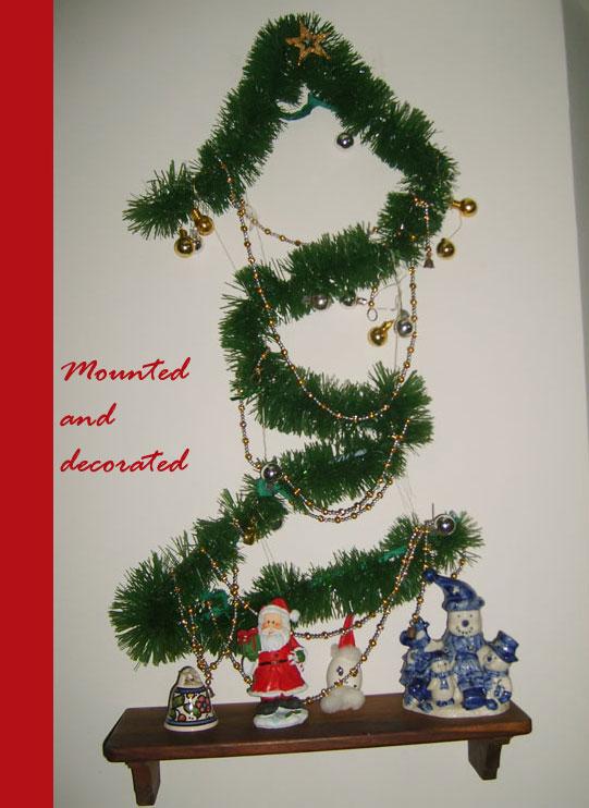 hanging christmas tree on the wall