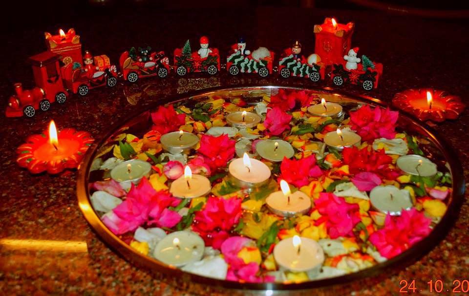 Diwali rangoli in xmassy touch