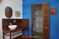 blue bedroom washroom homestay