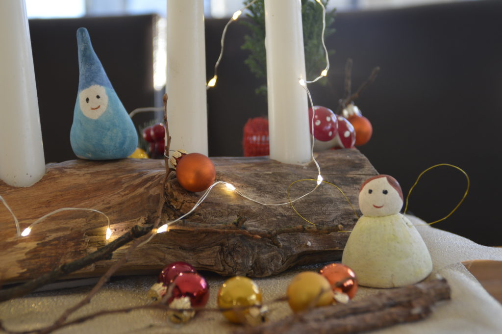 Wooden candle stand decor