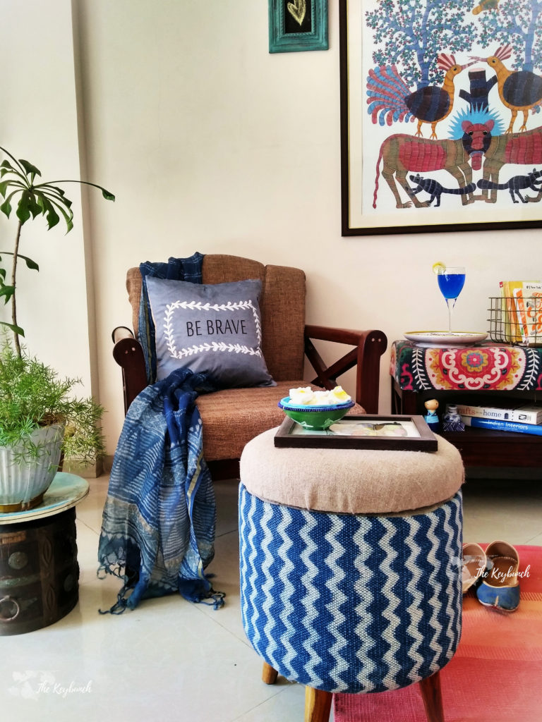 Upholstered ottomans and other furniture in gorgeous Indian fabrics: Sihasn