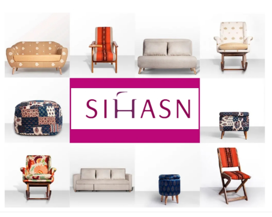 Sihasn: Minimalist functional furniture upholstered in dramatic Indian fabrics!