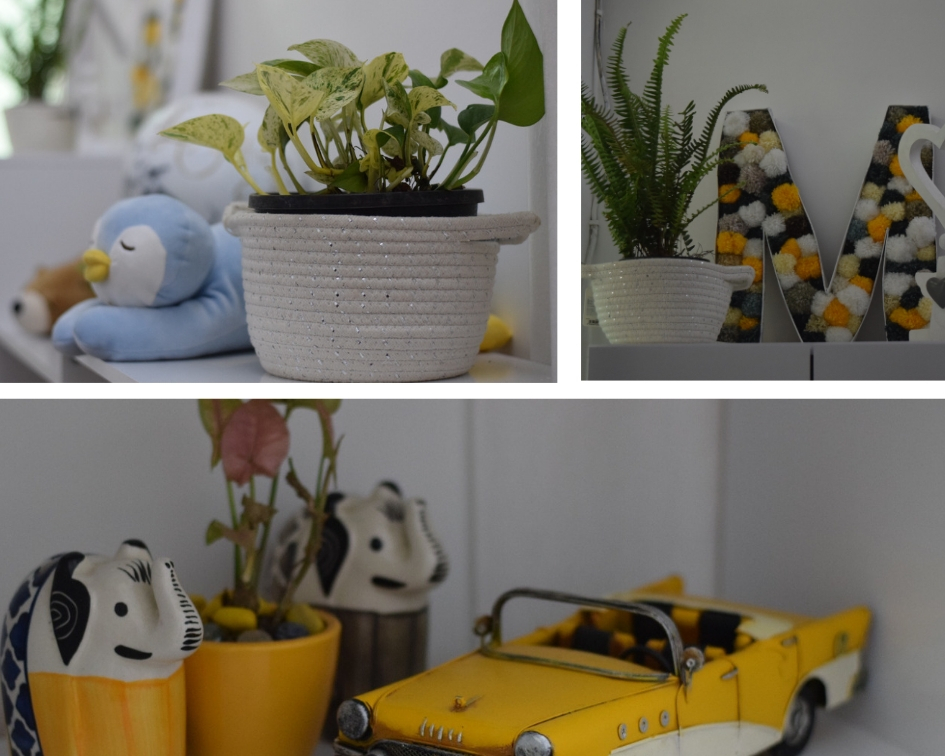 Home decor Tour by Ankita and Sitanshu's in Lucknow - Cute little vignettes in yellow and blue