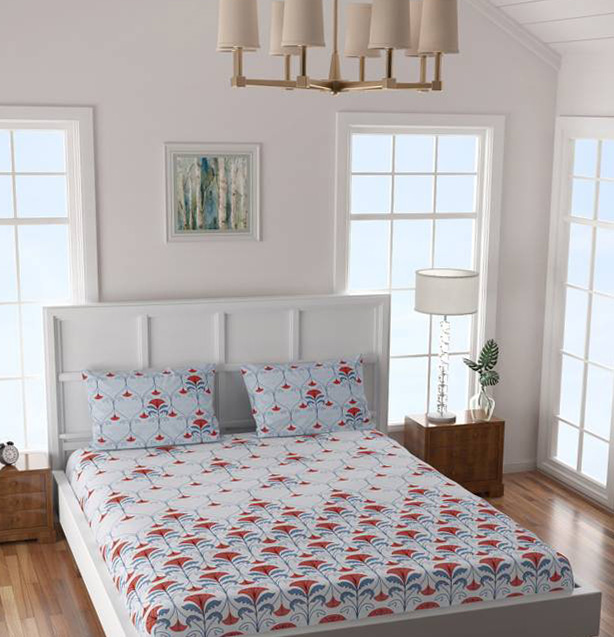 Cotton Double Floral Bedsheet and pillow covers from Flipkart online shop
