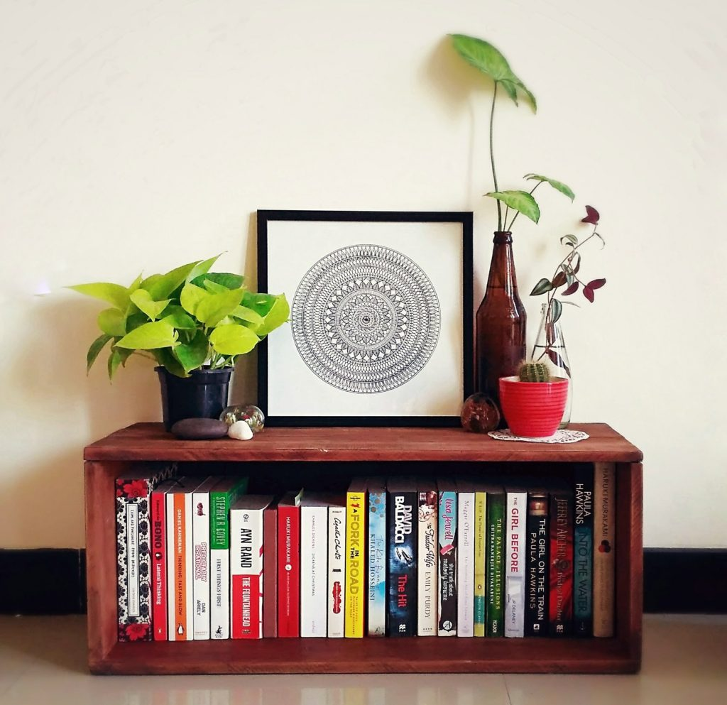 Jayati and Manali share their home tour as the science home décor - the study corner decorated with books, green plants and mandala frame