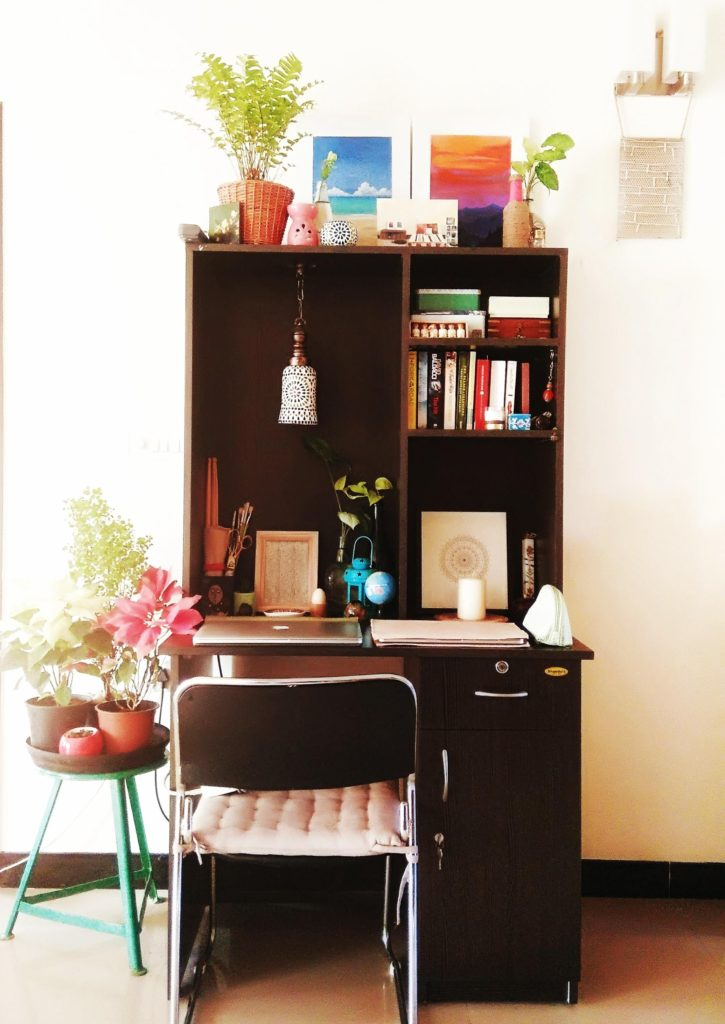 Jayati and Manali share their home tour as the science home décor - the study area fill with chair, table, books, flower and vintage