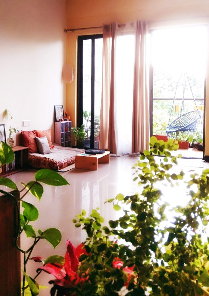 Jayati and Manali share their home tour as the science home  décor - the apartment living area with a balcony