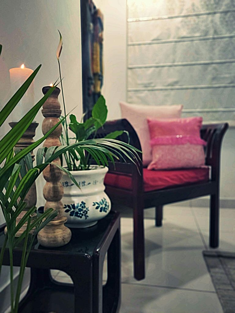 Home style Tour with Rajni in Hyderabad: the beautiful collection of green plants and candle stands