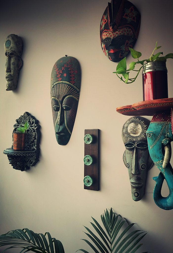 Home style Tour with Rajni in Hyderabad: The masks are from Bali and Jodhpur