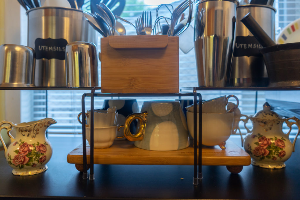 Affinity for antiques home tour of Rushika & Dipkal's - the utensils and tea sets at kitchen cabinet