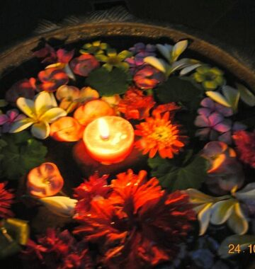 A beautiful diwali flower rangoli