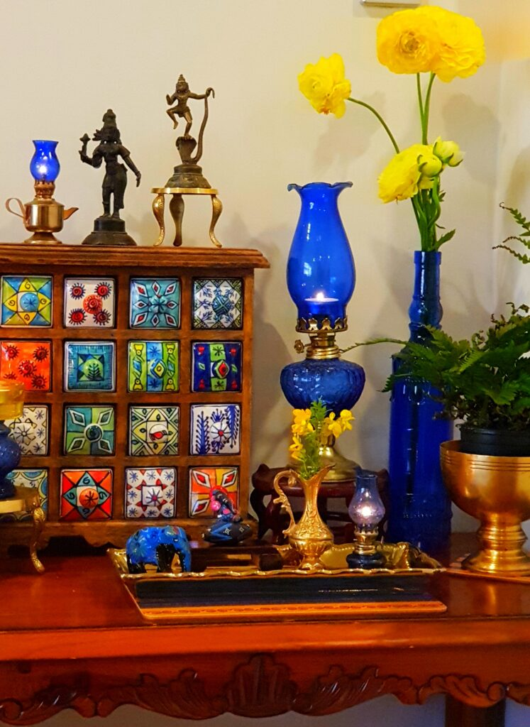 The combination of blue and yellow color for Diwali festival