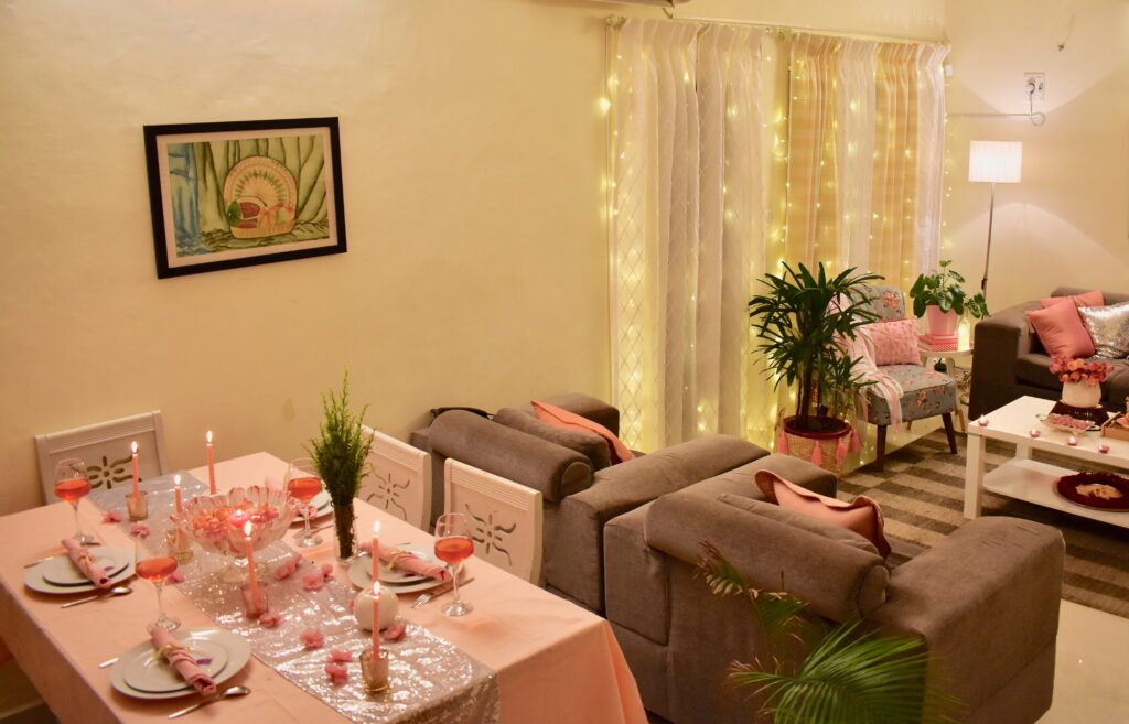 Decorated this diwali season with embracing Pink and Peach pastel pellet with a tinge of gold and silver