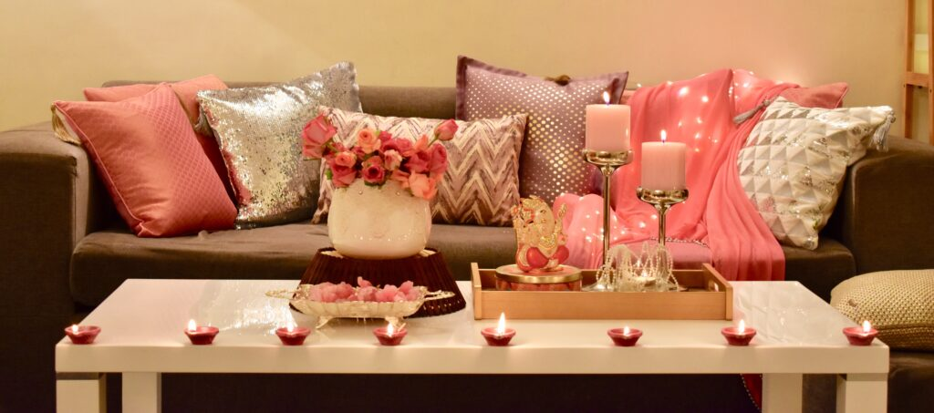 Baby pink, pastels and neutrals are unconventional choices for diwali decoration