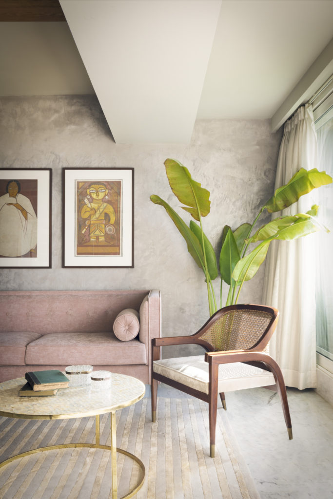 Home Renovation Story | Mohamedi & Durriya Sham's Aesthetic Mumbai Home - Traveler palm plant decorated at the corner of the living room