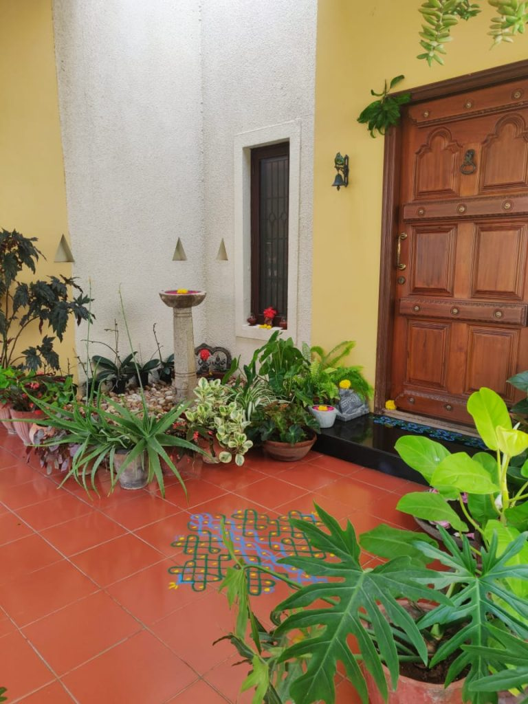 the beautiful indoor and outdoor green spaces at the front door