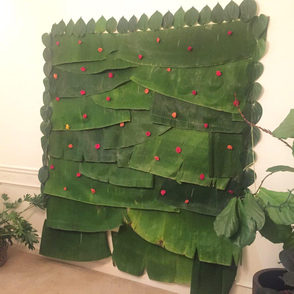 The backdrop banana leaf for festive ecofriendly decoration