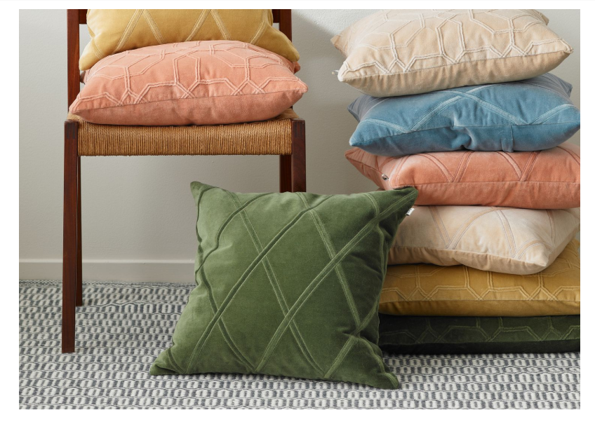 Velvet cushions by CHHATWAL&JONSSON, are made using the dori technique |decor goals 2020 for india
