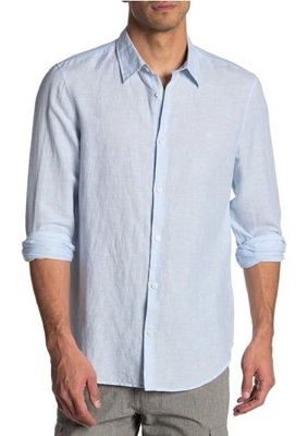 budget Orlebar Brown Blue Linen Shirt