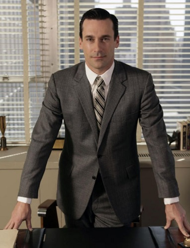 Don Draper Mad Men style grey suit
