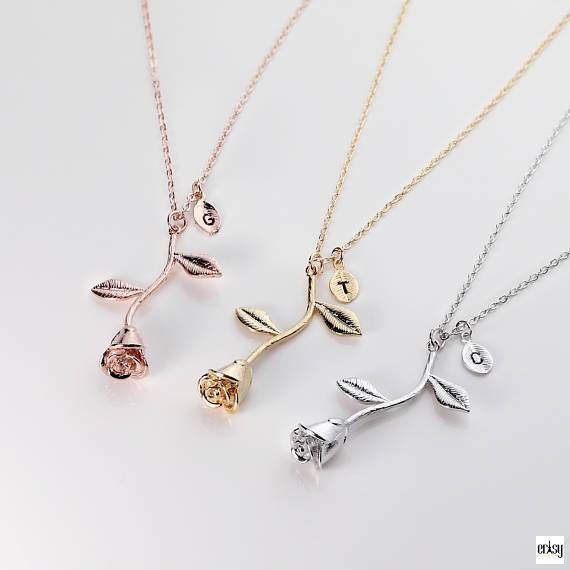 Rose & Initial // Personalised Necklace