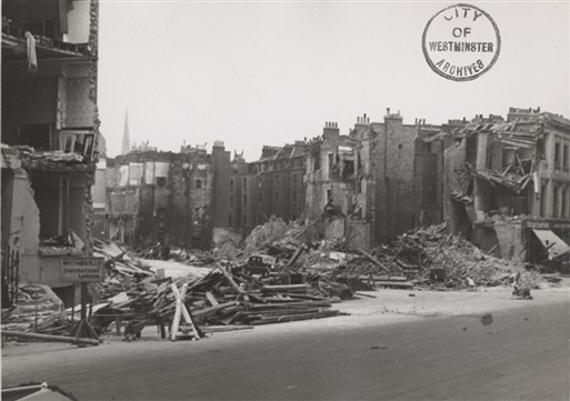 Damage to Sutherland Terrace (Westminster City Archives)