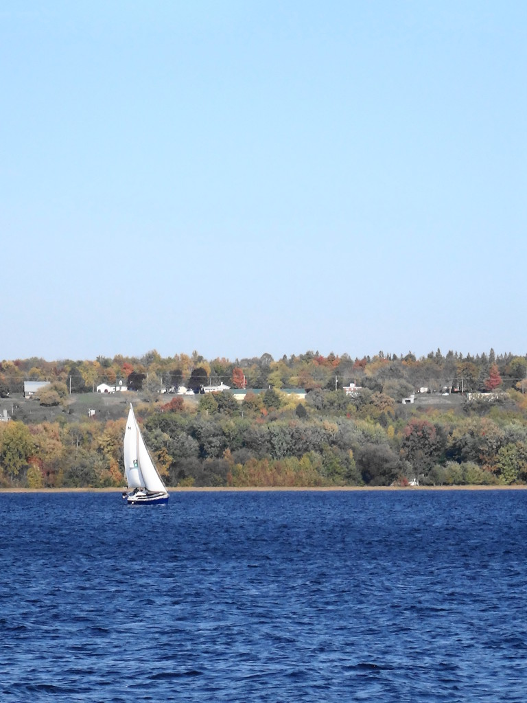 A sailboat tacks into a stiff breeze off Sheila McKee Park, with the Quebec shoreline in the background.