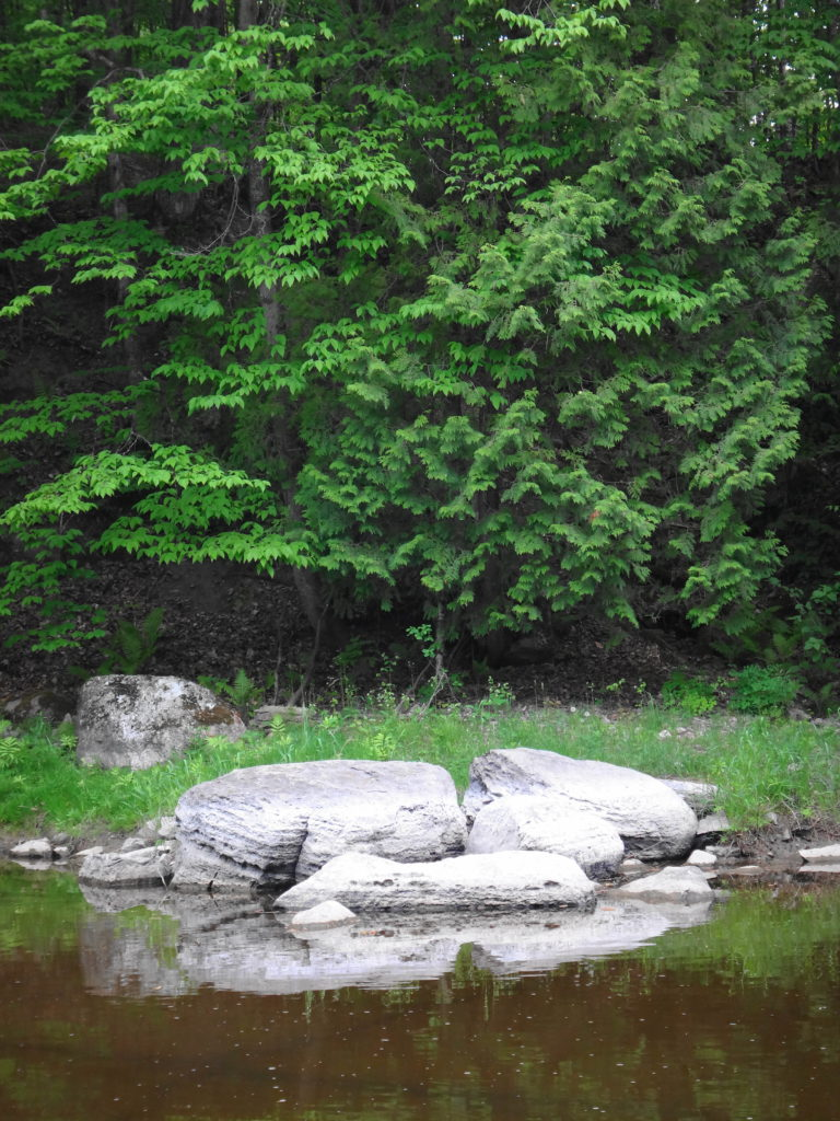White boulders lie on the south shoreline of the Jock River, against a emerald background of trees.