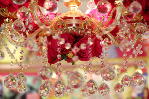 Floral chandeliers designed by Raseel Gujral
