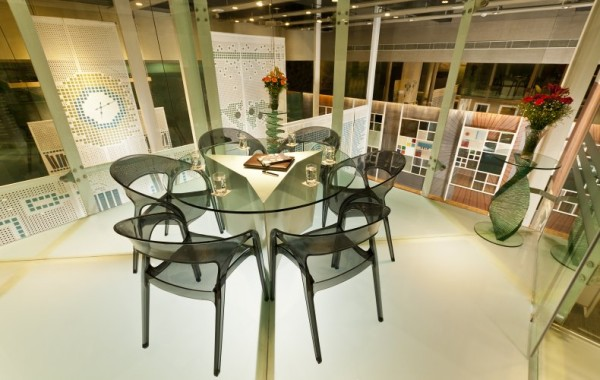Glass centre table, glass chairs and glass side tables. Pic Courtesy Asahi Glass India Ltd.
