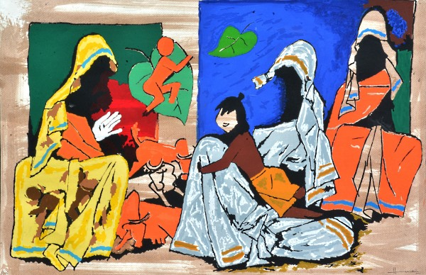 M.F. Husain signed serigraph: Mother Teresa Series. Size: 43in-x-58in-x-1.5in