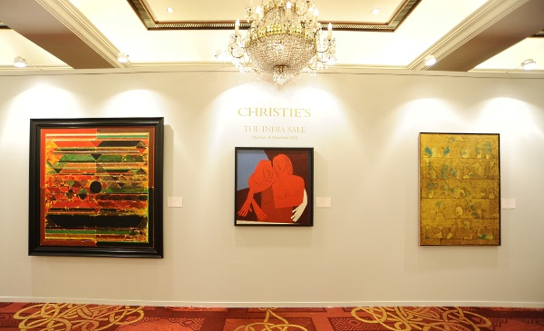 Third India Art Sale: (From left to right) Bindu by Syed Haider Raza, Untitled (Two Figures) by Tyeb Mehta, Untitled by Vasudeo S. Gaitonde
