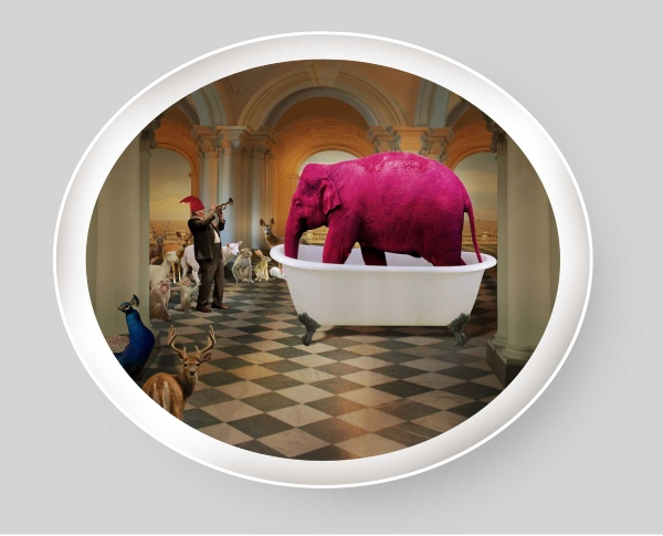 Gallery Espace exhibit at The Good Life: Pink Elephant in a bathtub by Manjunath Kamath