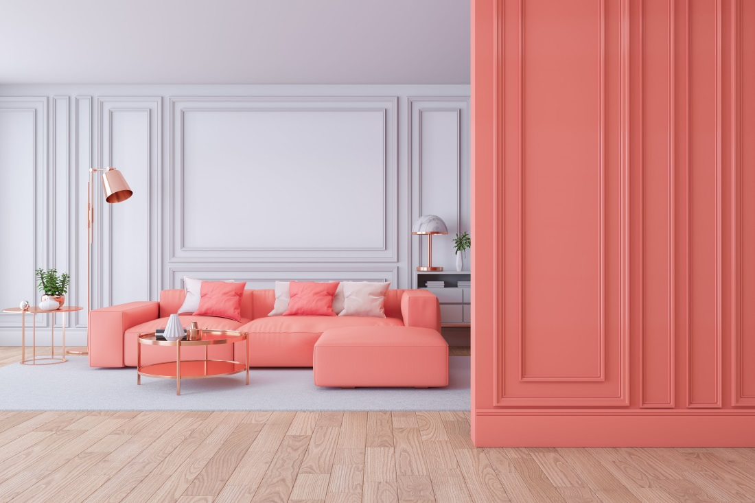 Sectional Sofa in coral by MADS Creation