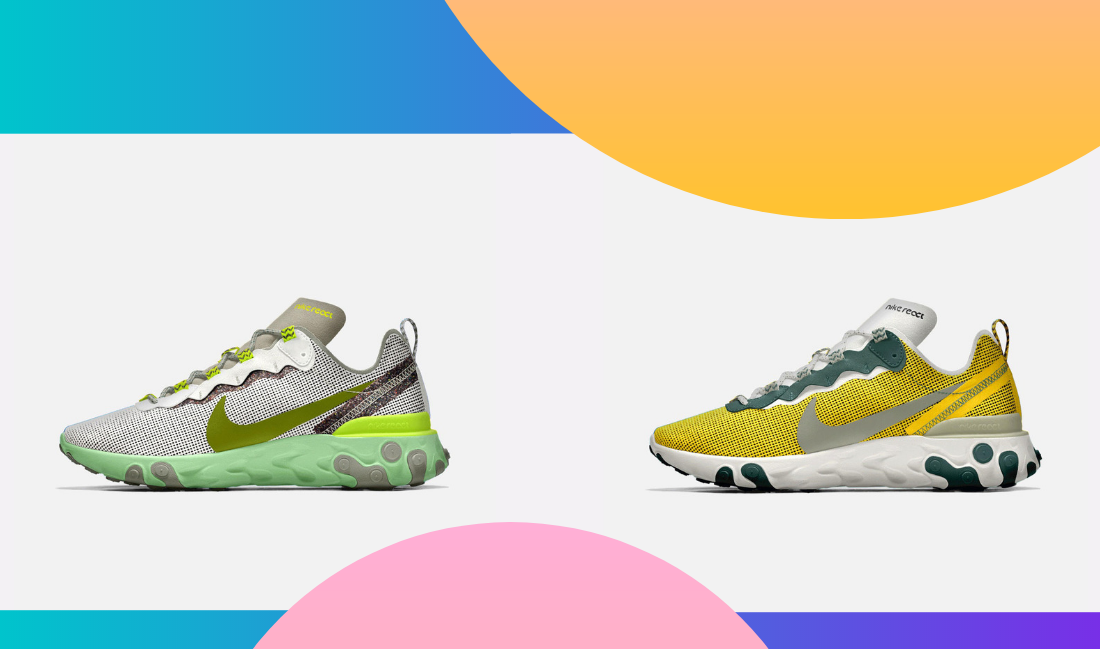 The Nike React Element 55 in new colourways, with even more options through Nike by You