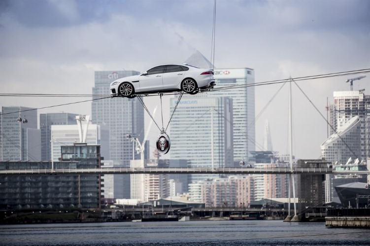 The new Jaguar XF performing world's longest high wire water crossing