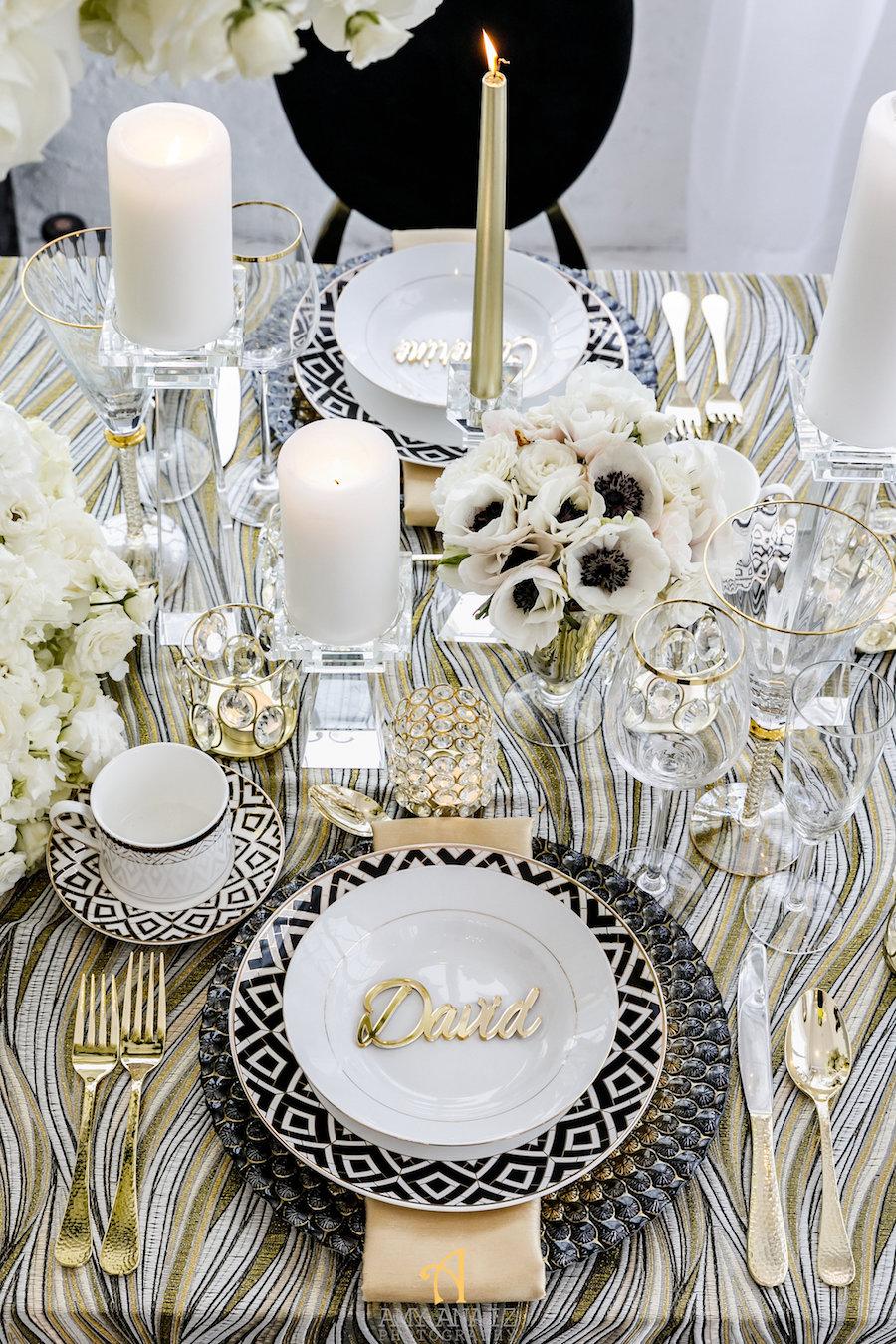 Wedding Table Decor Setup, Black, White, Gold