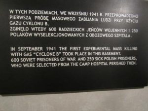 Plaque in Block 11 of Auschwitz