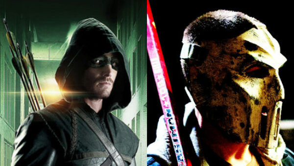 Stephen Amell as Green Arrow and Casey Jones